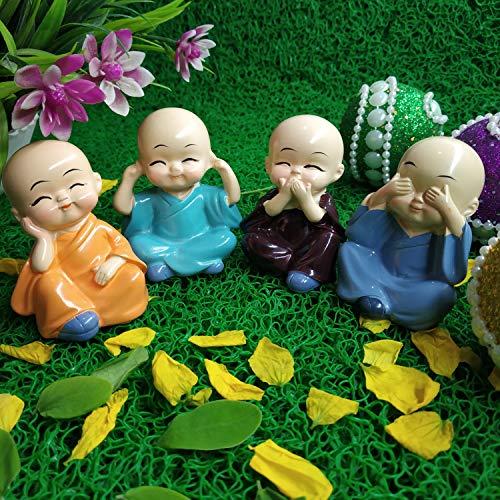 Shoppersduniya Cute Little Monks Buddha Idol for Car Dashboard Home Statue Showpiece