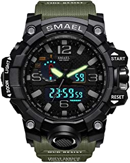 SMAEL Mens Digital Sports Watch Large Face Military Watches Electronic Waterproof Casual LED Stopwatch Alarm Digital Analog Dual Time Outdoor Army Wristwatch ¡