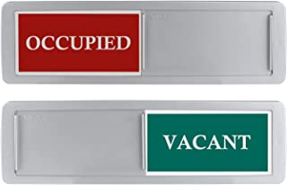 Occupied Vacant Sign, Luxury Privacy Signs for Home Office Restroom Conference Hotles Hospital, Slider Door Sign Tells Whether Room Vacant or Occupied, 7'' x 2'' Indicator - Silver