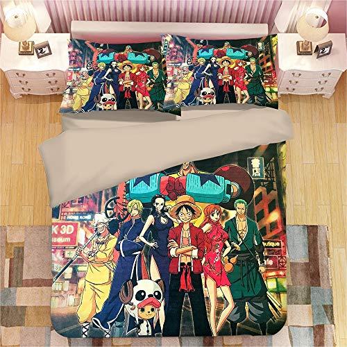 ONE PIECE: Nami&Luffy Los adolescentes y la fan del animado del hogar Ropa de cama 3 piezas con cierre de cremallera, japonesa de anime personajes en 3D Imprimir 1 funda nórdica y almohada 2 Shams
