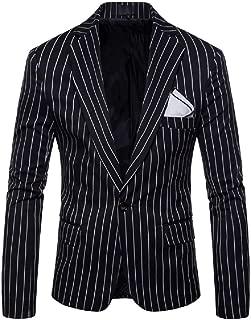 Men's Casual Pinstripe Sport Coat Notched Lapel Slim Fit One Button Blazer