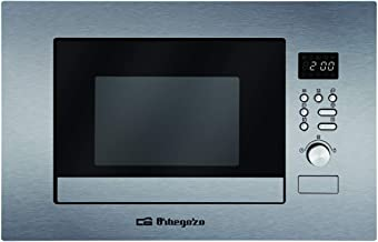Orbegozo MIG 2037 - Microondas con grill integrable full INOX, 20 litros, 8 menús de cocción automática, sistema de decongelación por tiempo o peso, display digital