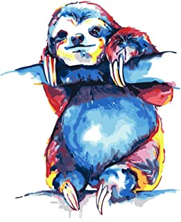 Paint by Number Kits Animal sloth DIY Digital Oil Painting Canvas Kits for Kids Adults Beginner Draw Artwork Paintings 16x...