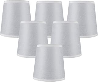 Meriville Set of 6 Paper Linen Clip On Chandelier Lamp Shades, 4-inch by 5-inch by 5-inch