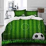MIGAGA Bedding Juego de Funda de Edredón,Campo de Juego de Green Grass Field Soccer con la Estrategia de Rayas del Esquema de Pelota,Microfibra Funda de Nórdico y Fundas de Almohada - 140 x 200cm