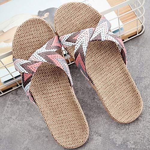 QIMITE Fascitis Plantar Lino Verano Home Zapatillas Mujer 35-45 Tamaño Grande bofetadas Chanclas de Playa Antiresbaladiza Unisex Zapatillas Familiar,36