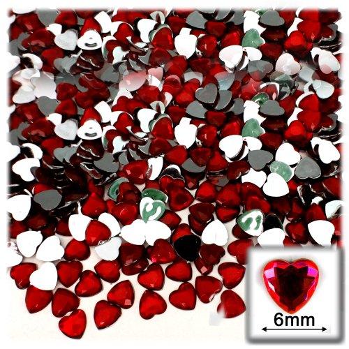 144pc Rhinestones Heart 6mm - Flatback Devil Red Wine