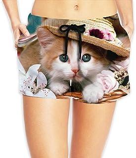 【ErmiCo】レディース 女性 サーフパンツ 水着 ボードショーツ ショートパンツ かわいい猫さん 海パン 短パン ファッション ショーツ ハーフパンツ 速乾 抗菌 5サイズ S-2XL