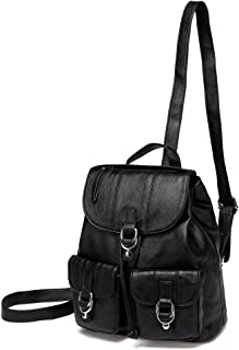 Backpack Purse for Women,VASCHY Fashion Faux Leather Buckle Flap Drawstring Backpack for College with Two Front Pockets