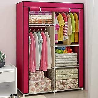 CXVBVNGHDF Armoire en Toile Armoires en Tissu Organisateur de Rangement de vêtements avec 2 Rails Suspendus et 4 étagères ...
