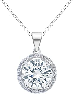 Sophia 18k White Gold Plated Circle Halo Pendant Necklace - Silver Halo Necklace w/Solitaire Round Cut Cubic Zirconia Diamond Cluster - Wedding Anniversary
