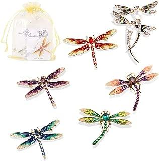 6 Pcs Dragonfly Themed Enamel Crystal Rhinestones Brooch Pin Women Jewelry Clothes Dress Scarf Decoration Lapel Pin