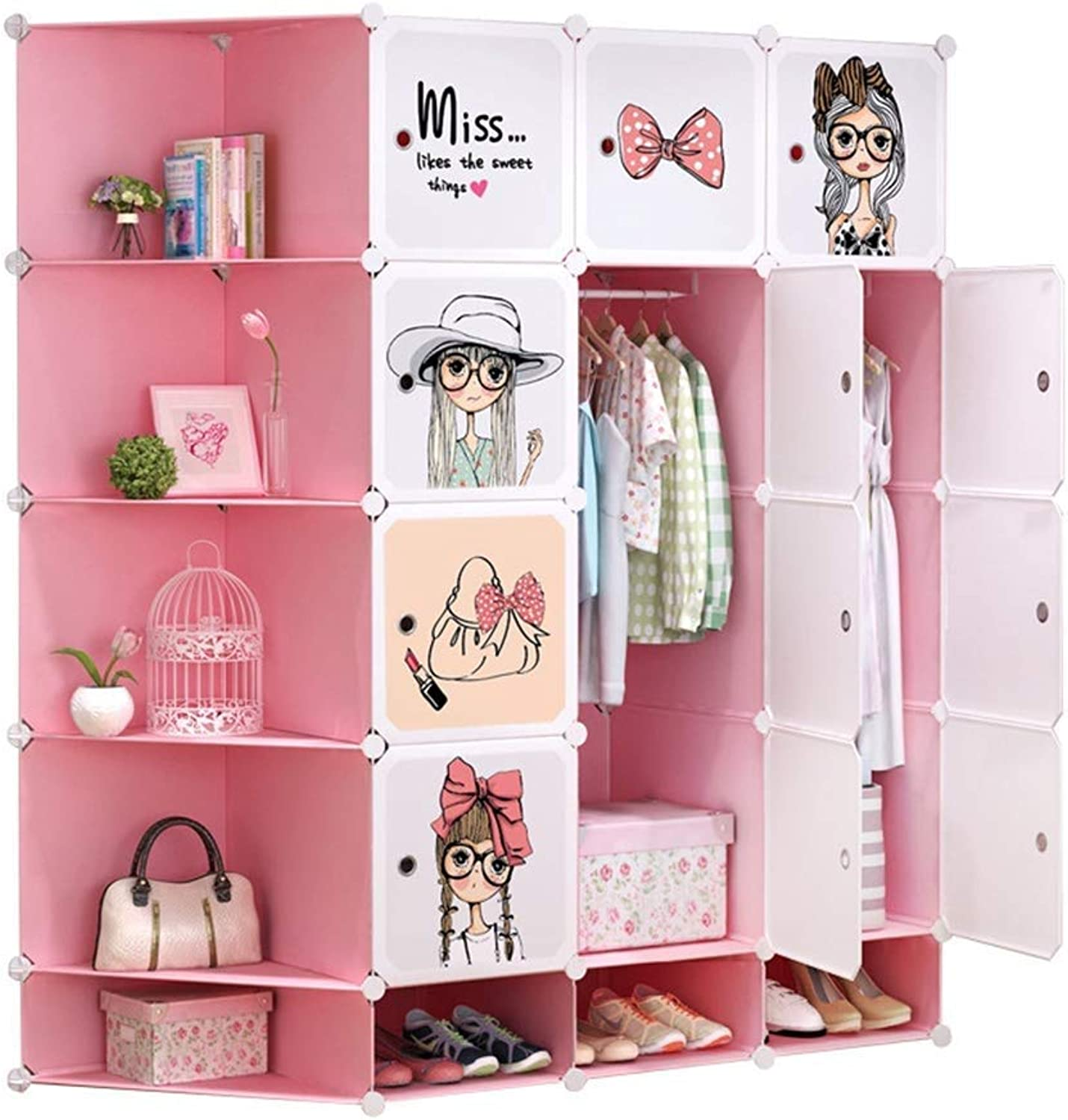 Organizer Pink Cute Pattern Portable Wardrobe for Hanging Clothes, DIY Combination Armoire, Modular Cabinet for Space Saving, Ideal Storage Organizer Cube Closet for Books, Toys (Size   12)