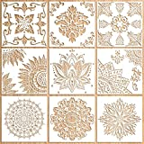 Cytteroa Plantillas de Mandala, 9 Piezas Plantilla Mandala Stencil para Pintar Reutilizable Plantillas de Dibujo, Plantilla Stencil Mandala Vintage...