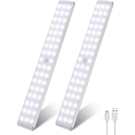 LED Schrankbeleuchtung, Upgraded Sensor Schranklicht 120 LED, Wiederaufladbar Dimmbare Sensor Licht Nacht mit Bewegungsmelder, 4 Modi LED K/üchenleuchte, f/ür K/üche, Kleiderschrank, Wohnmobil 2-Pack