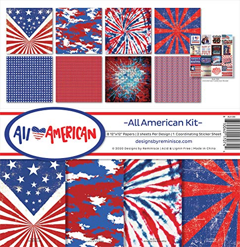 Reminisce All American Scrapbook Collection Kit Paper Crafts, Multi Color Palette