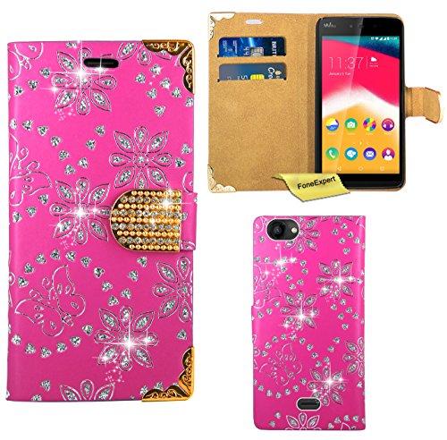 FoneExpert® Wiko Rainbow Jam Handy Tasche, Bling Luxus Diamant Hülle Wallet Hülle Cover Hüllen Etui Ledertasche Premium Lederhülle Schutzhülle für Wiko Rainbow Jam
