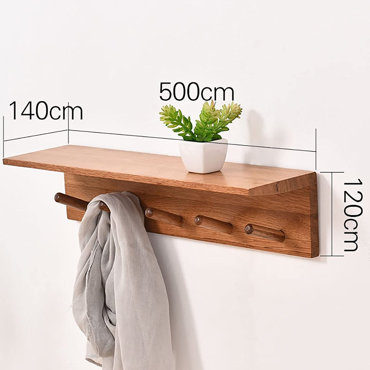 Wall Mounted Coat Rack, Wall-Hung Coat Hooks,Bedroom Living Room Entrance Creativity Simple Modern Solid Wood Wall-Mounted Coat Racks. (Size   120  500  140mm)