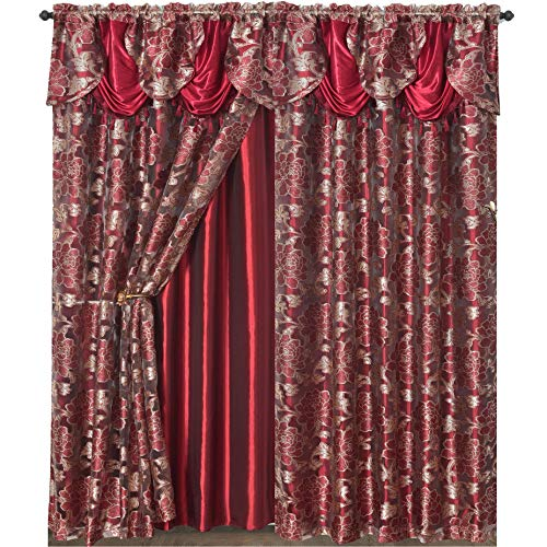 Royal ROSARIUM. Clipped Voile. Voile Jacquard Window Curtain with Attached Fancy Valance and Taffeta Backing. 2pcs Set. Each pc 58 inch Wide x 84 inch Drop + 18 inch Valance. (Wine)