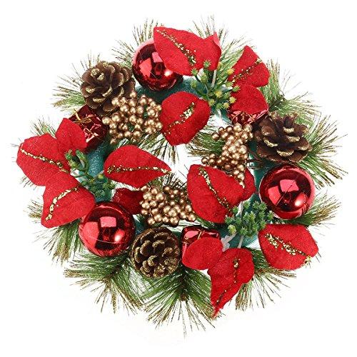 YeahiBaby - Ghirlanda Natalizia per Porta con pigne, Fiori e Stelle di Natale, 30 cm, Colore: Rosso