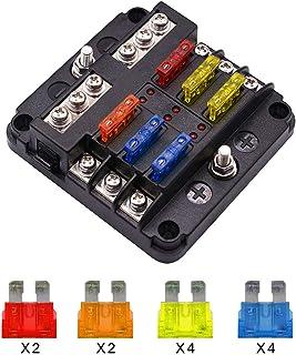 6 Way Fuse Block Blade Fuse Box Holder, 6 Circuit Car Ato/Atc Fuse Block Waterproof with 20Pcs Fuse & LED Indicator & Prot...