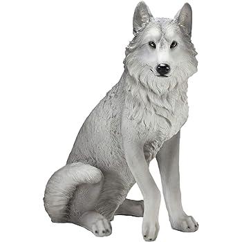 "Ebros Large Dakota Wildlife Sitting Alpha Gray Wolf Statue 20.5"" Tall Realistic Lifelike Timberwolf Decor Figurine Animal Totem Spirit"
