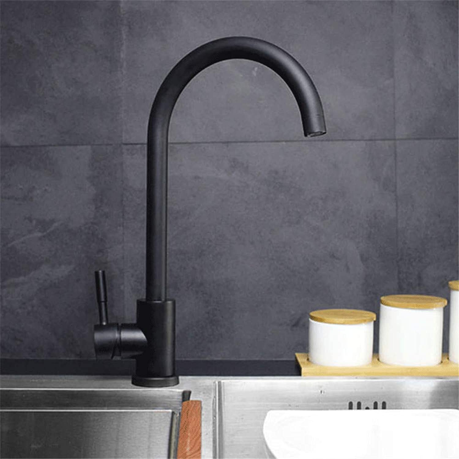 Oudan Stainless Steel Kitchen Faucet Black Paint Kitchen Faucet Hot and Cold Kitchen Faucet Mixing Water 304 Lead Lavatory 8410H (color   -, Size   -)