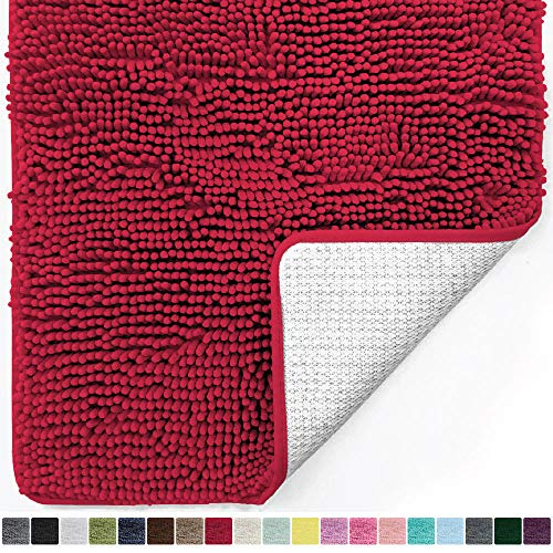 Gorilla Grip Original Luxury Chenille Bathroom Rug Mat, 24x17, Extra Soft and Absorbent Shaggy Rugs, Machine Wash Dry, Perfect Plush Carpet Mats for Tub, Shower, and Bath Room, Red