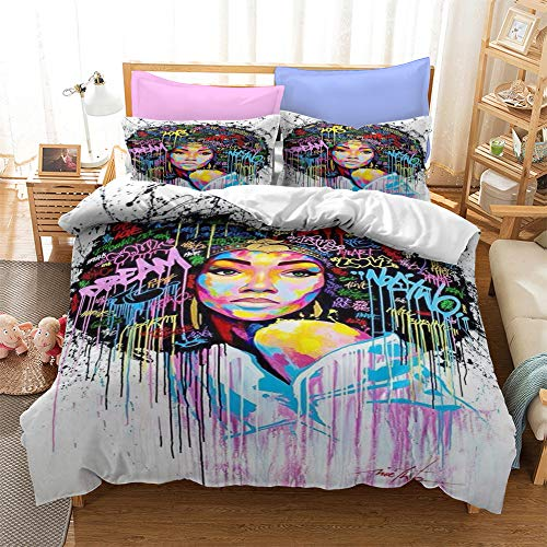LWtiao-x Black Girl Bedding, 3D digital Printing Quilt Cover + Pillowcase, Boys and Girls, Adult Quilt Cover 135x200 (a6,135x200cm+80x80cmx1)