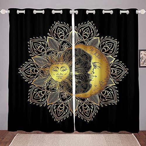 "Erosebridal Mandala Window Curtains Bohemian Sun Moon Curtains For Bedroom, Boho Hippie Window Drapes For Kids Boys Girls Teens, Tribal Exotic Floral Window Treatments Curtains, Black Golden 104""X 84"""