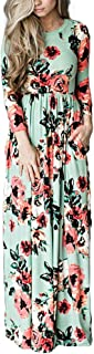 HOOYON Women's Casual Floral Printed Long Maxi Dress with Pockets