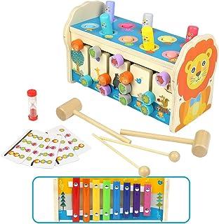 Symiu Juguetes Niños Bebes Educativos Juguetes de Madera 3 in 1 Montessori Xilofono Infantil Juguetes de Laberinto Clasifi...