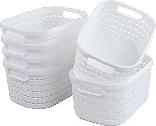 Kiddream Small Desktop Storage Bins in White, Plastic Baskets with Handle, Set of 6