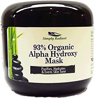 Organic Alpha Hydroxy Acid and Hyaluronic Acid Face Mask 2 ounce. Tightens in Seconds, Purifies, Hydrates & Evens Skin Tone AHA Acid