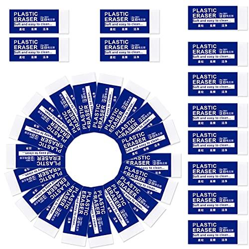 Radiergummis,30 Stück Radierer Plastic mini Weiß Text Radiergummi,Weiche 2B-Radierer Kunststoff Gummi Eraser,Radiergummi Set für Schulen Skizzen Gemälden Bildeanden Künsten Wohnungen Büros
