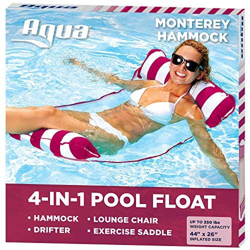 Aqua 4-in-1 Monterey Pool Hammock & Float, 50% Thicker, Patented Non-Stick PVC, Multi-Purpose Water Hammock (Saddle, Chair, Hammock, Drifter) Pool Chair for Adults - Burgundy