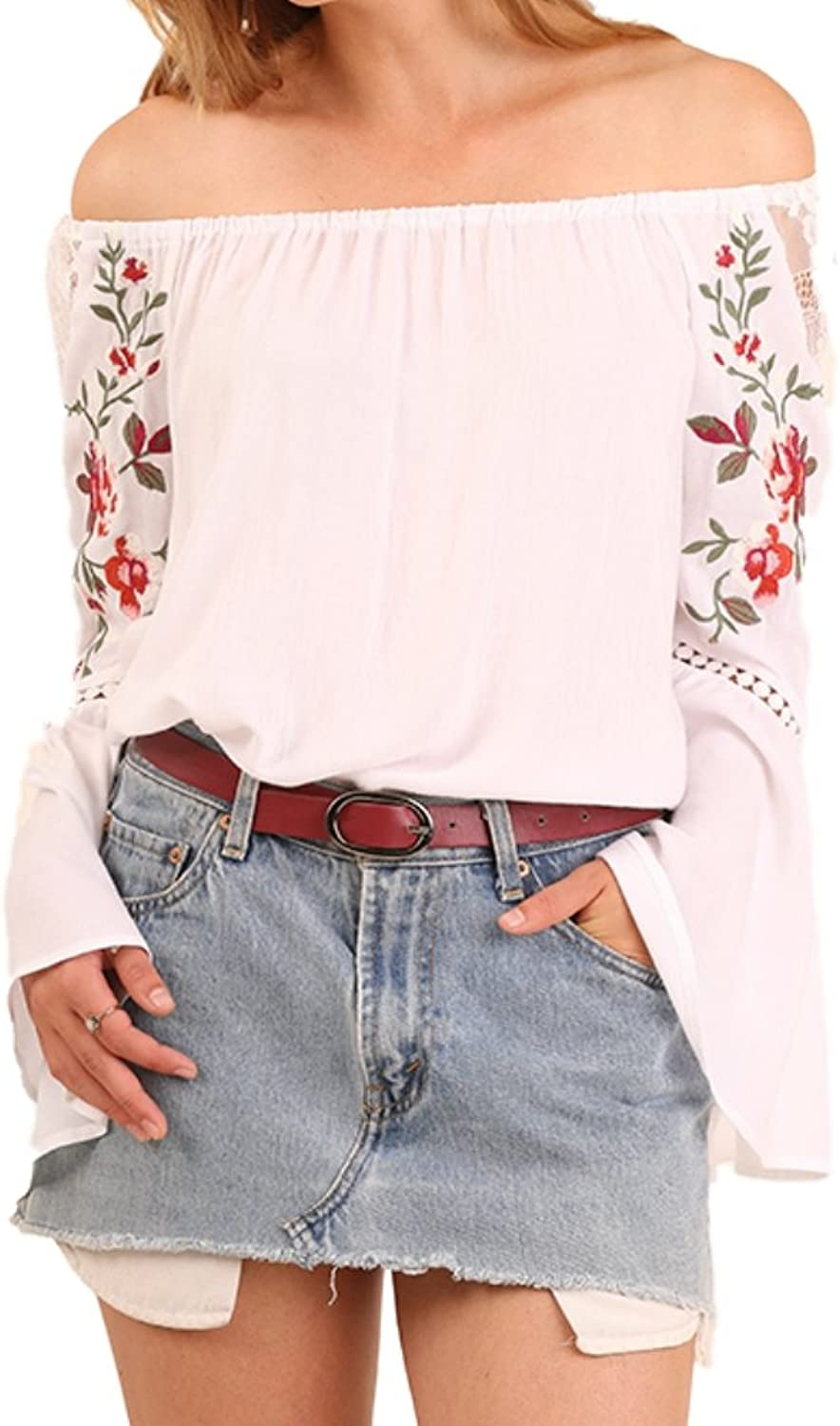 Umgee USA Womens & Plus Off Shoulder Top Embroidered Bell Sleeve