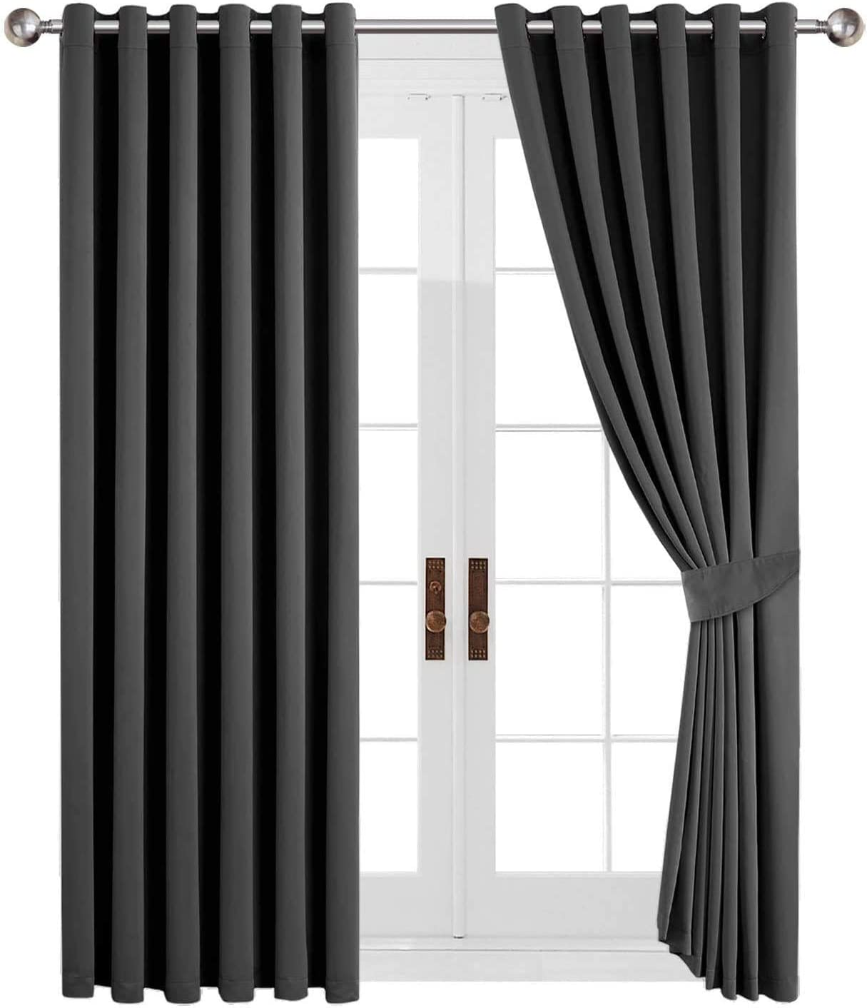 """Aspire Homeware Blackout Curtains for Bedroom 46 x 54 Grey Eyelet Curtains for Living Room Thermal Ring Top Curtains 2 Panels Grey 46"""" Width X 54"""" Drop (117 x 137 CM)"""