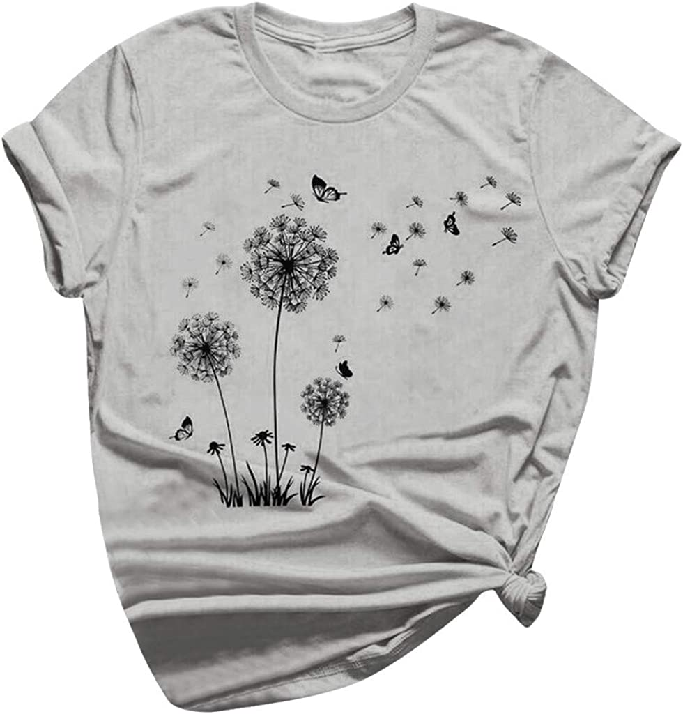 YUehswet Womens Short Sleeve Tops,Womens Floral Flower Print Graphic Tees Lady Short Sleeve O Neck T-Shirts Blouse Top