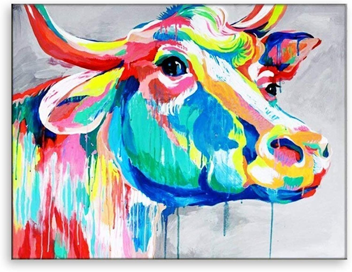 EZON-CH Modern Art Hand Painted Abstract color Cow Wall Art Oil Painting Stretched and Framed For Home(20IN X 24IN)