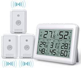 AMIR Indoor Outdoor Thermometer, 3 Channels Digital Hygrometer Thermometer with 3 Sensor, Humidity Monitor Wireless with LCD Display, Room Thermometer and Humidity Gauge for Home, Office, Baby Room