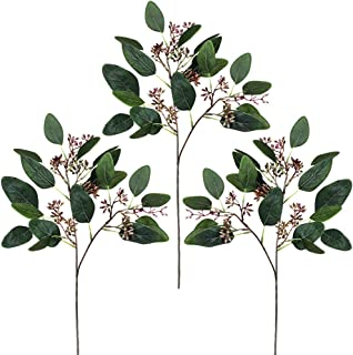 Supla 3 Pcs Faux Seeded Eucalyptus Leave Spray Artificial Greenery Silk Greens Artificial Leaves Stems for Floral Arrangem...