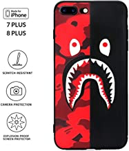 Kplvet iPhone 8 Plus 7 Plus Case,Ultra Soft Embossed Craft Non Faded Durable Slim Thin 5.5 Inches 8p 7p Case,Street Fashion iPhone-Case Designer Basic Phone Cover (Red Black ShaYu)