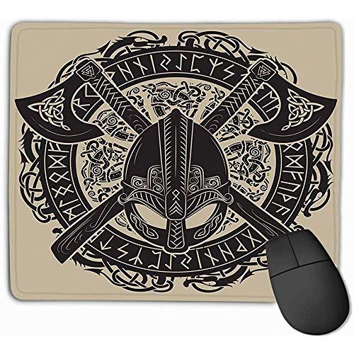 Mausunterlage Wikinger-Sturzhelm-Wikinger-Äxte-Kranz-skandinavische nordische Runen-modernes Wasserzeichen Mousepad 25 * 30CM