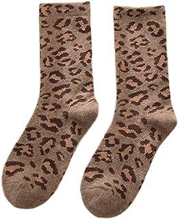 kingcxu, Calcetines de invierno para mujer, estilo retro, gruesos, gruesos, cómodos, calcetín de media pantorrilla, calcetines atléticos de invierno, vintage, novedosos y casuales