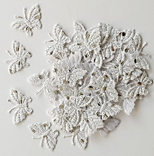 Confezione di 100farfalle glitterate in tessuto, colore: bianco,  dimensioni: 30 x 20 mm,  per la decorazione di biglietti e per scrapbooking