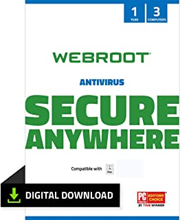 Webroot Internet Security with Antivirus Protection – 2019 Software | 3 Device | Year Subscription | Mac Download