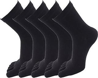 acdf8525b340c Evedaily Lot de 5 Paires de Chaussettes Femme Mi Hautes - Chaussettes  Orteils Separés - Chaussettes