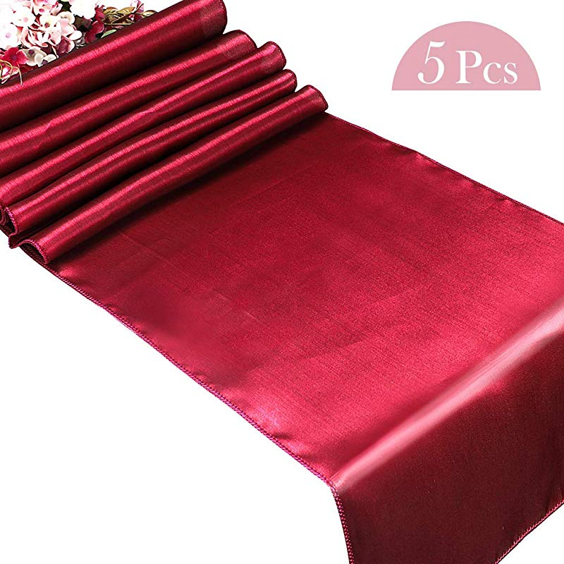 Cocider 5 Pcs Satin Table Runners Wine Red Table Runner Place Mats Table Runner For Banquet Wedding Table Decorations Dinner Table Party Decorations Round Coffee Table Table Cover