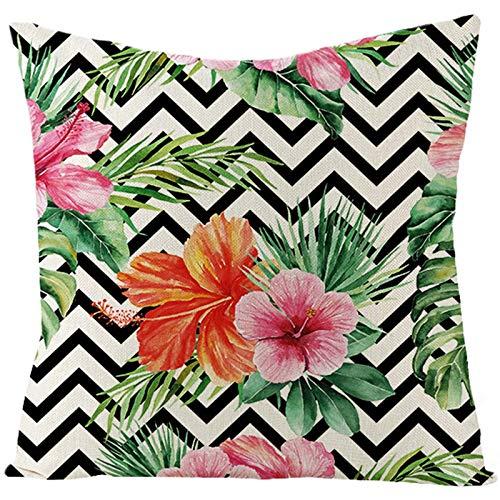 KnBoB Funda Almohada Lino Flores Hojas Patrón Ondulado 45 x 45 cm Verde Rosa Negro Blanco Estilo 18